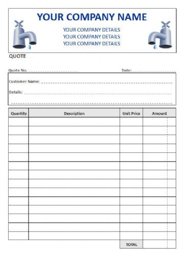 Plumbers NCR Quote Pads, 4 Column Lined